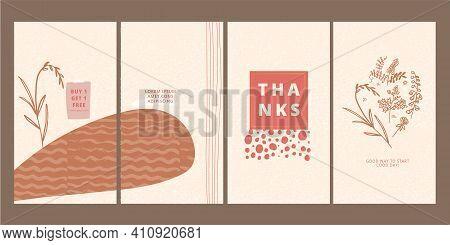Set Of Boho Style Posters. Rustic Phone Digital Decor Wallpaper, Widget Design, Aesthetic Lock Scree