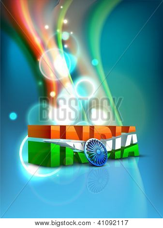 Indian flag color creative wave background with 3D Asoka wheel and text India. EPS 10.