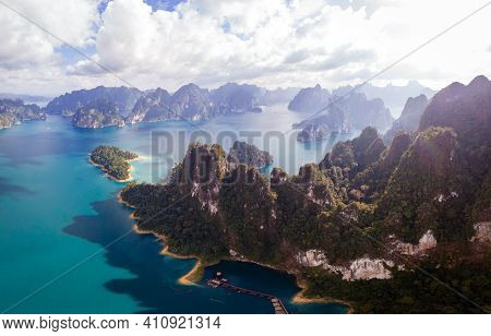 Khao Sok Thailand, Scenic Mountains On The Lake In Khao Sok National Park, Drone Aerial Shot, Top Vi