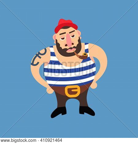 Cartoon Illustration Of A Bearded Sailor In A Red Hat Smoking A Pipe Having An Anchor Tatoo