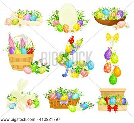 Decorated Easter Eggs Or Paschal Eggs Rested In Basket And Grass Nest Vector Arrangement Set