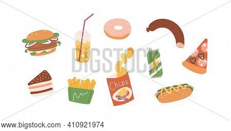 Set Of Unhealthy Junk Food. Fastfood Icons Of Burger, Hot-dog, Pizza, Sausage, Chips, French Fries,