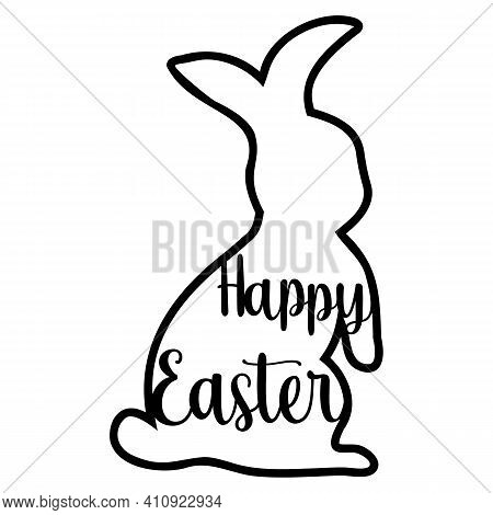 Happy Easter Laser-cut Easter Bunny Rabbit. Hare For Die Cutting. Laser Cutting Rabbit Template East