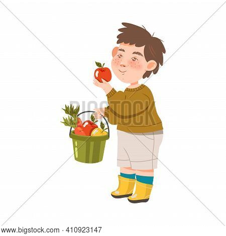 Freckled Boy Holding Pail Full With Ripe Apples And Carrot Harvesting Vector Illustration