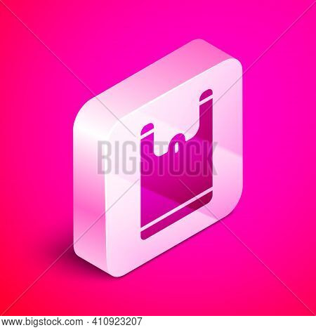 Isometric Plastic Bag Icon Isolated On Pink Background. Disposable Cellophane And Polythene Package