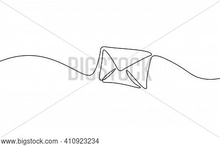 One Line Paper Envelope. Black And White Monochrome Continuous Single Line Art. Email Message Post L