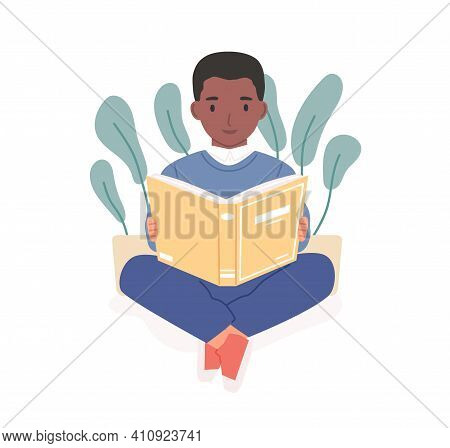 Happy African Child Reading Book. Afro-american Boy Studying With Textbook. Smart Child With Literat