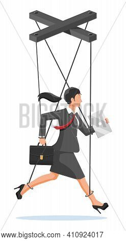 Businesswoman Marionette Is Hanging On Ropes. Puppeteer Holding Business Woman On Leash. Puppet Doll