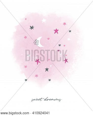 Sweet Dreams.lovely Watercolor Style Pink Night With Moon And Stars. Cute Hand Drawn Simple Starry S