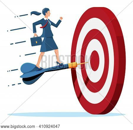 Businesswoman Aim Arrow To Target. Goal Setting. Smart Goal. Business Target. Achievement And Succes