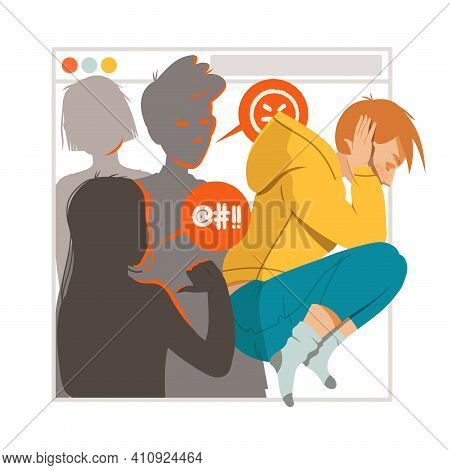 Young Male As Victim Of Cyberbullying Suffering From Violence And Hatred From Social Media Vector Il