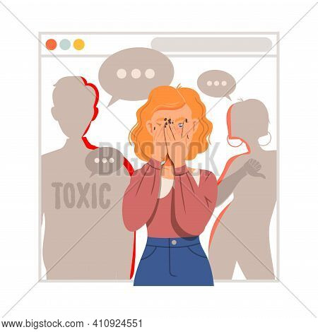 Young Female As Victim Of Cyberbullying Suffering From Violence And Hatred From Social Media Vector
