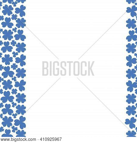 Clover. Blue Plant. Seamless Vertical Border. Trefoil And Four-leafed. Repeating Vector Pattern. Sai