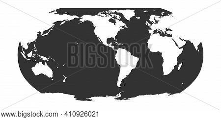 World Map In Robinson Projection. Americas Centered. Solid White Land Silhouette. Vector Illustratio