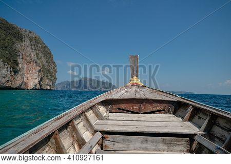 Landscape Of Phi Phi Leh Island With Longtail Boat For Travel. Andaman Sea, Krabi, Phuket  Thailand.