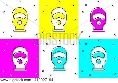 Set Balaclava Icon Isolated On Color Background. A Piece Of Clothing For Winter Sports Or A Mask For