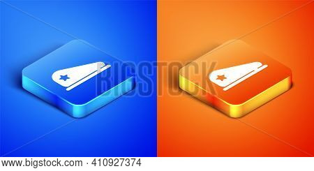Isometric Military Beret Icon Isolated On Blue And Orange Background. Soldiers Cap. Army Hat. War Ba