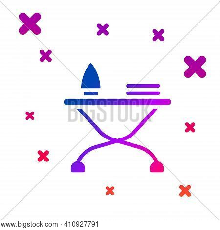 Color Electric Iron And Ironing Board Icon Isolated On White Background. Steam Iron. Gradient Random