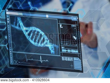 Scientific data processing with dna strand on digital screen. global medicine science and technology concept digitally generated image.