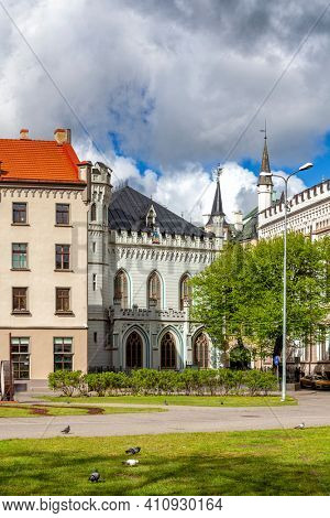 Colorful medieval houses in the Livu Square, Riga Old Town, Latvia