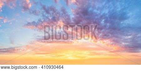 Amazing Panoramic view of  Sunset  Sunrise Sundown Sky with colorful clouds, long panorama, crop it