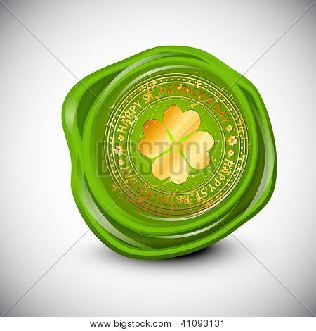 Wax seal for St. Patrick's Day with golden clover leaf. EPS 10. poster