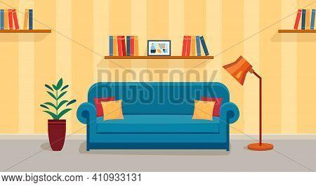 Living Room With Sofa, Lamp, Plant And Bookshelf. Warm Room With Sofa.