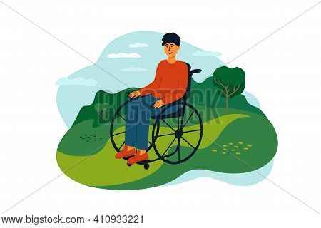 Young Man Sitting In Wheelchair Enjoying Nature Landscape. Handicapped Person Lifestyle. Smiling Dis