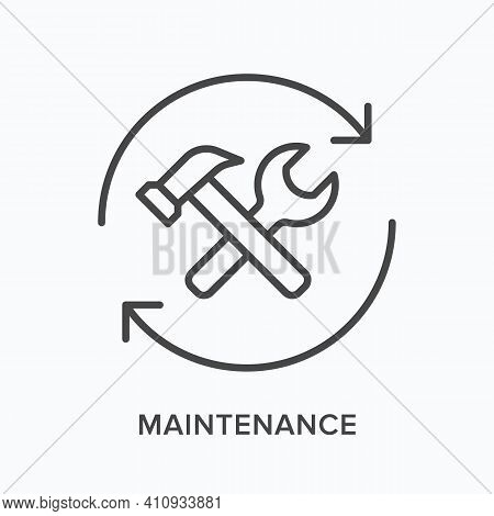 Maintenance Flat Line Icon. Vector Outline Illustration Of Spanner, Wrench And Arrows. Black Thin Li