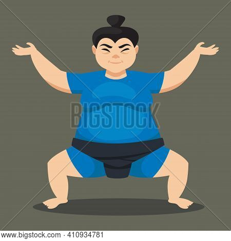 Female Sumo Wrestler Front View. Japan Character In Cartoon Style.