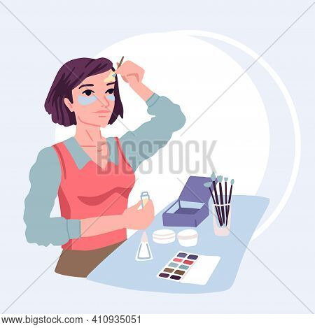 Woman Applies Cosmetics Cream On Her Face, Anti-wrinkle Skin Care, Beauty Treatments At Home, Makeup