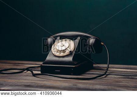 Black Retro Telephone Office Communication Technology Nostalgia