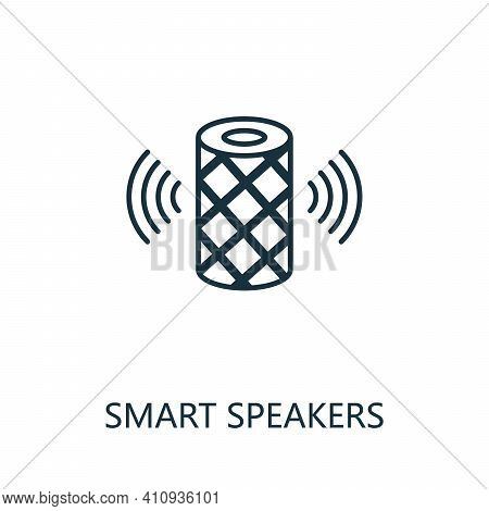 Smart Speakers Outline Icon. Thin Line Style From Smart Home Icons Collection. Pixel Perfect Simple