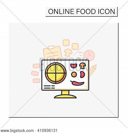 Pizza Constructor Color Icon. Application Helps Create Perfect Pizza. Online Shopping. Click-and-col