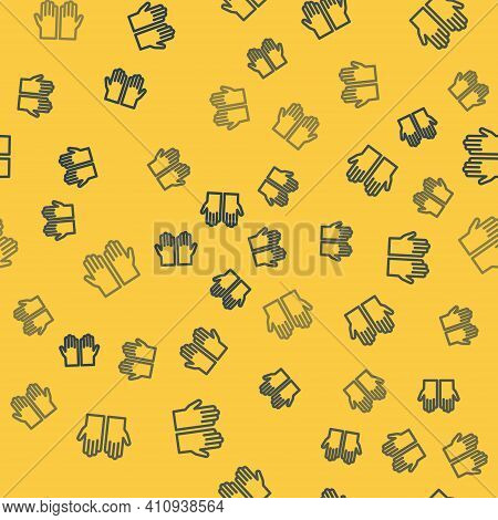 Blue Line Medical Rubber Gloves Icon Isolated Seamless Pattern On Yellow Background. Protective Rubb