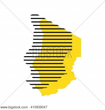 Chad - Yellow Country Silhouette With Shifted Black Stripes. Memphis Milano Style Design. Slimple Fl