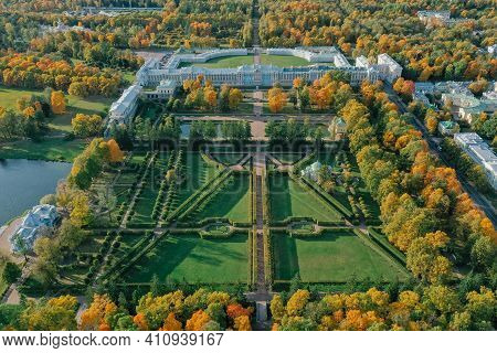 Aerial View Of The Catherine Park With A Large Pond In Tsarskoe Selo. The City Of Pushkin. Catherine