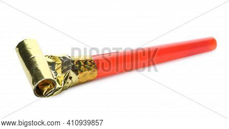 Red Party Blower Isolated On White. Clown's Accessory
