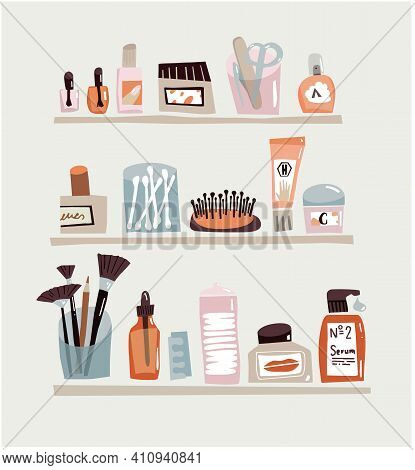 Bathroom Shelf With Cosmetics And Make Up. Shelves With Skin Care Stuff. Flat Design, Minimalistic A
