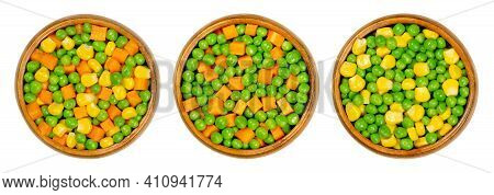 Mixed Vegetables In Wooden Bowls. Three Mixes Of Green Peas, Corn And Carrot Cubes. Mix Of Peas, Car