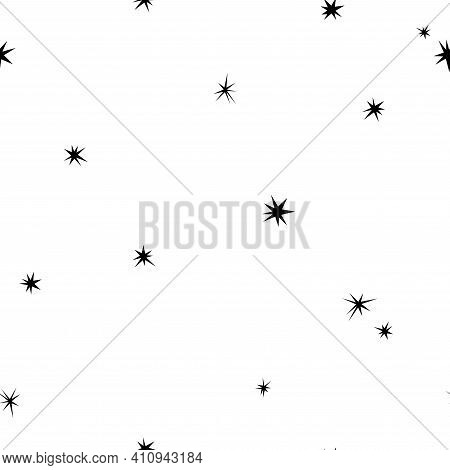 Seamless Abstract Pattern With Black Hand Drawn Shabby Stars Of Different Size On White Background.