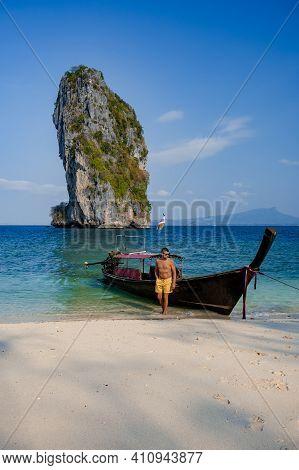 Koh Poda Island Thailand, Couple Mid Age Asian Woman And European Man On The Beach, Koh Poda Thailan