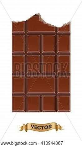 Chocolate Bitten Bars On White Background, Realistic Vector Illustration