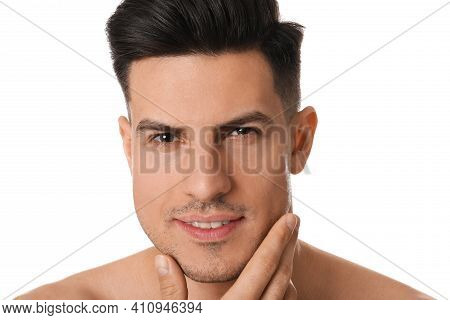 Handsome Man With Stubble Before Shaving On White Background, Closeup