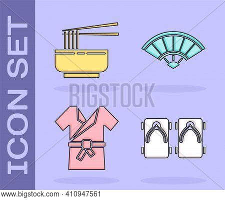 Set Geta Traditional Japanese Shoes, Asian Noodles In Bowl And Chopsticks, Japanese Costume Kimono A