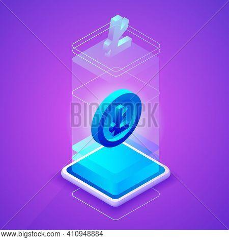 Litecoin Cryptocurrency Vector Illustration For Blockchain Mining Farm Technology. Isometric Digital
