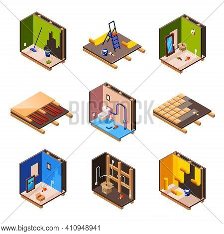 Vector Isometric Home Interior Renovation And Repair Work Process Stages In House Cross Section. Plu