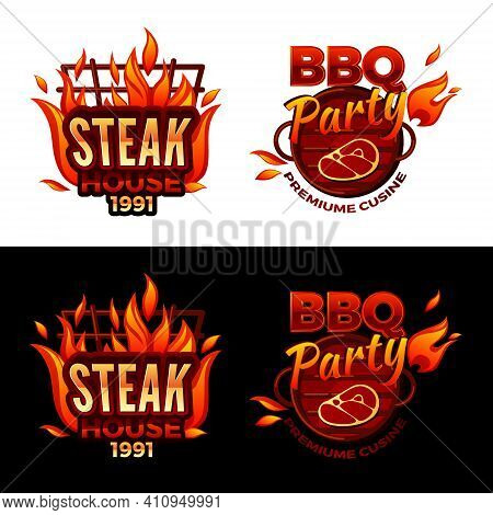 Steak House Vector Illustration For Barbecue Party Logo Or Premium Meat Cuisine Design. Vector Isola