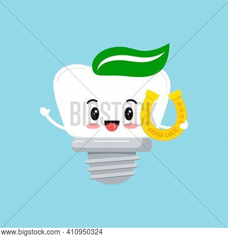 St Patrick Tooth Dental Implant Icon Isolated. Orthodontist Dentistry Teeth Character With Irish Luc