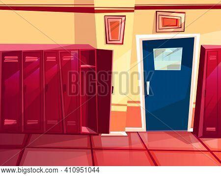 Locker Room Vector Illustration Of Gym Or School Sport Changing Room. Cartoon Seamless Row Of Indivi